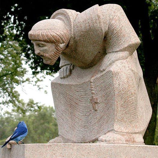 statue Saint François d'Assise et l'oiseau